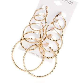 5Pairs/set Vintage Silver Gold Big Circle Hoop Earrings Women Steampunk Ear Clip