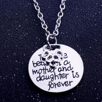 Foot Print Dog Pet Claw Paws Love Between Mother Daughter Forever Pendant Necklace Women Family Charm Jewelry Mother's Day Gifts