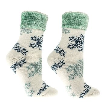 Women's Lounge Socks Snowflake Vintage Fall Winter Christmas Soft Lavender Infused Cream Grey Cuff Kissables By MinxNY