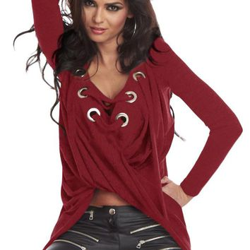 Chicloth Lace Up Long Sleeve Ruched Pullover Shirt
