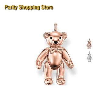 PT1476 Pink Teddy Bear Pendant Ts Style Glam And Soul Fashion Jewerly For Women 2015 Ts Gift In Rose Gold Ornament
