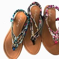 Women's Fashion Gladiator Flat Sandals with Floral and Gold Accent