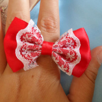 bow ring,red bow ring