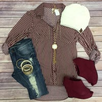 What I like about you Striped Top: Burgundy