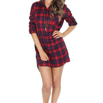 Red & Navy Plaid Tunic