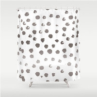 Shower Curtain Taupe Polka Dots Grey Gray Bown Home Bath Room Unique Decor