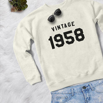 60th birthday gift for women crewneck sweatshirt mom gift for her birth year tshirt 1958 birthday shirts cozy sweater pullover jumper