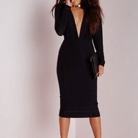 Missguided - Long Sleeve Plunge Midi Dress Black