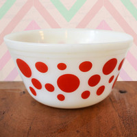 Vintage Federal White Milk Glass Bowl with Red Retro Dots, mid century rockabilly