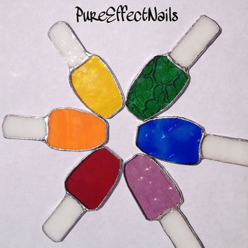 Handmade Stained Glass Nail Polish Bottle by PureEffectNails
