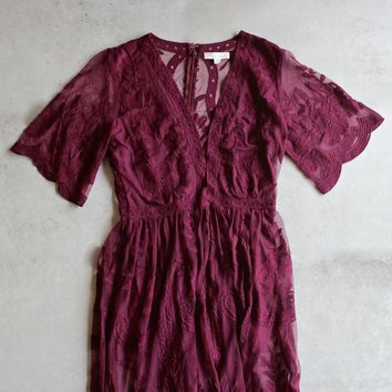 as you wish embroidered lace maxi dress (women) - burgundy