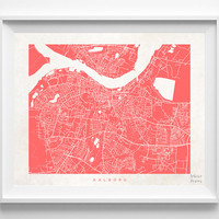 Denmark, Aalborg, Print, Map, Poster, State, City, Street Map, Art, Decor, Town, Illustration, Room, Wall Art, Customize, Bedroom