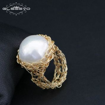 GLSEEVO Natural Fresh Water Baroque White Pearl Rings For Women Handmade Engagement Ring Luxury Fine Jewelry Bague Female GR0188