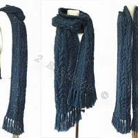 Jeans Blue Tweed Tvidi Extra Long Unisex Men Women Stole Scarf Chunky Big Infinity Cable Knit Handmade Wool Winter Scarves Hulk Extra Long