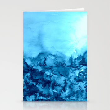 INTO ETERNITY, TURQUOISE Colorful Aqua Blue Watercolor Painting Abstract Art Floral Landscape Nature Stationery Cards by EbiEmporium