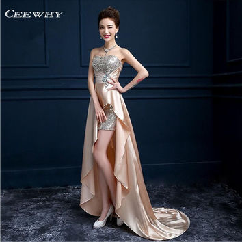 Satin Patchwork Asymmetrical Women Formal Gowns Crystal Long Evening Dress Floor-Length Corset Dovetail Train Court Prom Dress