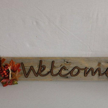 Welcome Sign Decor made from pallet wood, fall foliage and laser cut Welcome letters