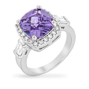 Emma 8ct Amethyst CZ White Gold Rhodium Ring