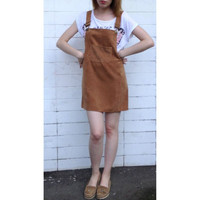 Korean Fashion Autumn Women Elegant Pockets Suspender Skirt Corduroy Sleeveless Overalls Skirts