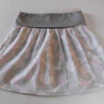 Grey Toddler Fold Over Waist Skirt With Elephant/Giraffe, Little Girls Skirt, Grey Skirt Toddler, Twirl Skirt Toddler, Flounce Skirt Toddler
