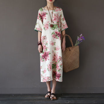 Women Summer Floral Print Retro double-layer Bamboo linen Dress ladies Round neck Loose Mid Calf length Flower Dress