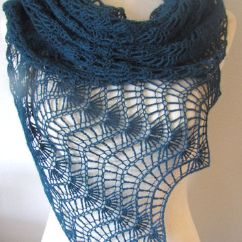 Blue Platinum Lace Crochet Shawl With From Izaisen Rework