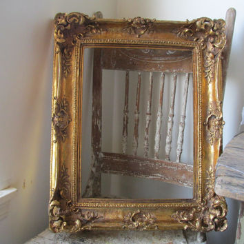 Ornate wood gesso frame original gold gilt/ leafing French Nordic antique farmhouse wall hanging home decor anita spero design