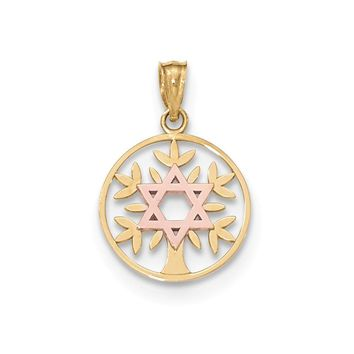14k Two-tone Gold Yellow & Rose Polished Star Of David Tree Of Life Pendant