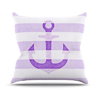 "Monika Strigel ""Stone Vintage Purple Anchor"" Outdoor Throw Pillow"