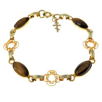 Gold Filled Tiger Eye Bracelet Greek Orthodox Cross Charm