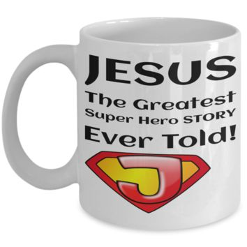Motivational Spirituality Catholic Mantra Mugs Coffee Mug Christianity Coffee Cup Religious Art Print Artsy Jesus Christ Decorative Pencil Holder White Ceramic 11 oz pba Free Dishwaher Safe Easter 2017 2018 Mugs Jesus Super Hero Story