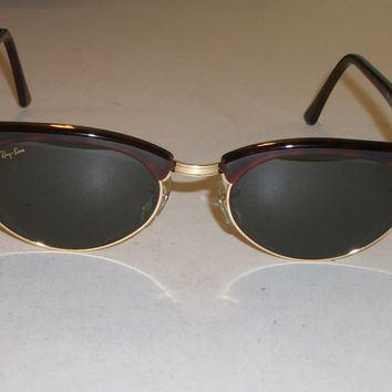VINTAGE B&L RAY BAN W1264 G15 MOCK TORT/GOLD COMBO OVAL CLUBMASTER SUNGLASSES
