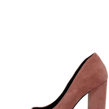 Chyna Mauve Suede Pointed Pumps