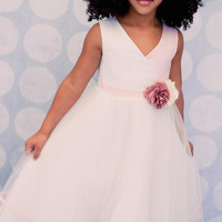 Cross Over Bodice Satin & Tulle Dress with 2 Tier Hem in White, Ivory or Rose/Ivory (Girls 2T - Size 14)
