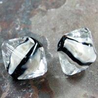 Handmade Lampwork Beads Glass Crystal Beads Clear Black Fossil Stripes