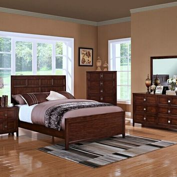 New Classic 131-315 5 pc ridgecrest collection distressed walnut finish wood headboard queen bedroom set