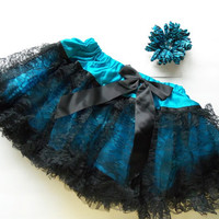 Girls Ruffled Pettikirt, gorgeous girls skirt, boutique, girls outfit and matching hair flower, blue, black lace, toddler,girls skirts,girls