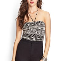 FOREVER 21 Tribal Print Halter Top Taupe/Black