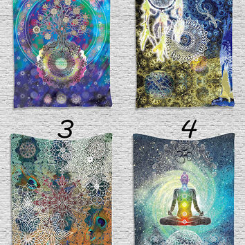 Floral Mandala Spiritual Meditation Psychedelic Tapestry Wall Hanging Blue Zen Yoga Wall Decor Art for Bedroom Living Room Dorm