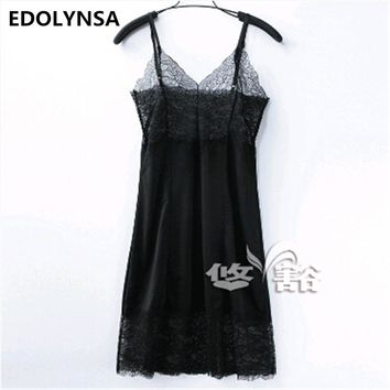 High Quality Fashion Nightgown Women Sleepwear Sexy Lace Solid V-Neck Pijama Nightdress Sleepshirts Camisolas De Dormir #K8