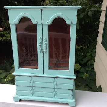 vintage jewelry armoire box, shabby chic mint, large