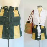 Colorblocked Denim Mini Skirt Green and Yellow Button Front Extra Small