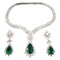 Pear Shape Emerald and Diamond Necklace and Earring Set