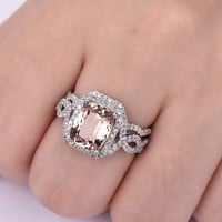 Cushion Morganite Engagement Ring Bridal Sets Diamond Wedding Band 14K White Gold 8x10mm