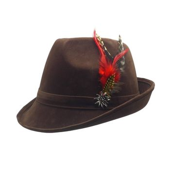 """German Hunter"" Brown Hat Fedora With Edelweiss & Feather"
