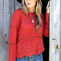 Tomato Gardens Red Embroidered Tunic Top With Drop Waist & Scalloped Hem