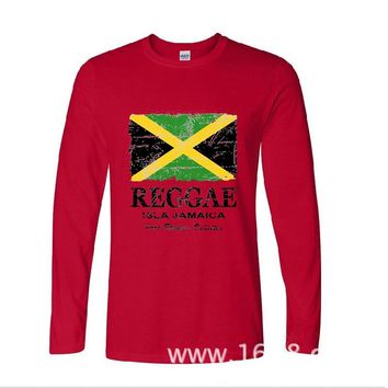 2017 New Arrive Funny Reggae Jamaica Flag funny long sleeve t shirt