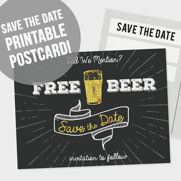 Printable Save the Date Postcard | DIY Save the Date | Free Beer Save the Date | Wedding Printable | PDF Download