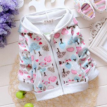 Fashion Autumn Baby Infants Girls Print Forest Casual Hoodies Hooded Jackets Cardigan Coat Outwear Coats Casaco S2339