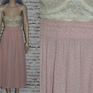 90s High Wasit Midi Skirt Broomstick Crinkle Rayon Pastel Pink White XS S Grunge Boho Festival Hipster Witchy Witch